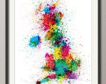 Great Britain UK Paint Splashes Map, Art Print (683)