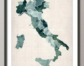 Italy Watercolor Map, Art Print (734)