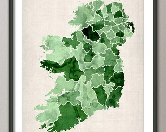 Ireland Watercolor Map, Art Print (767)