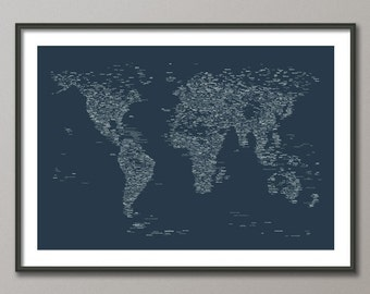City Text Map of the World Map, Art Print, 24x36 inch (768) - color options