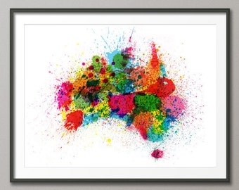 Australia Paint Splashes Map, Art Print (770)