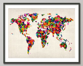 Love Hearts Map of the World Map, Art Print (775)