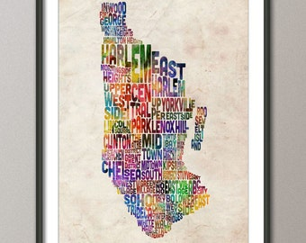 Manhattan New York Typographic Map, Art Print (887)