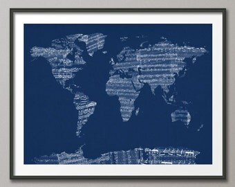 Map of the World Map from Old Sheet Music, Art Print (784)