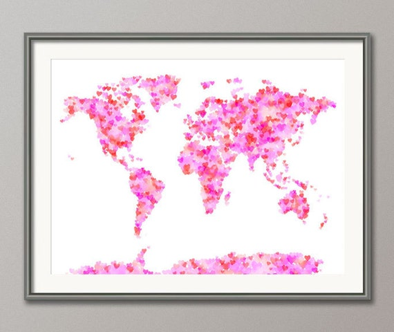 Love Hearts Map of the World Map, Art Print (897)