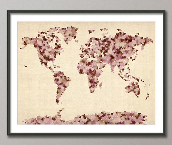Love Hearts Map of the World Map, Art Print (899)
