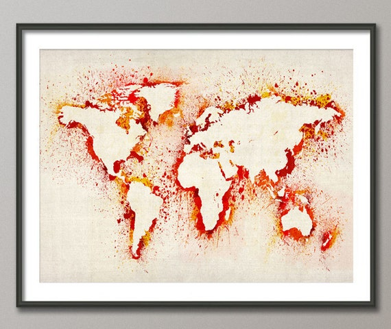 Map of the World Map Abstract Painting, Art Print (183)