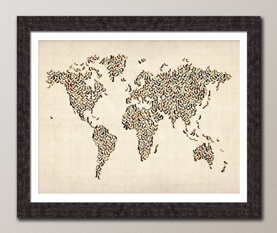 Ladies Shoes Map of the World Map, Art Print (427)