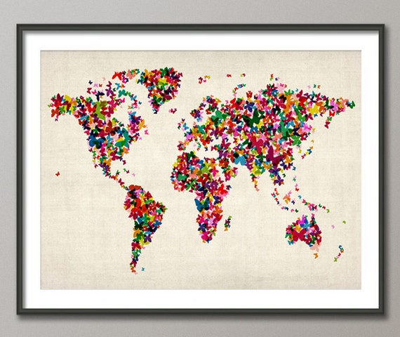 Butterflies Map of the World Map, Art Print (453)