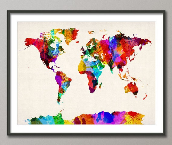 Map of the World Map Abstract Painting, Art Print (460)