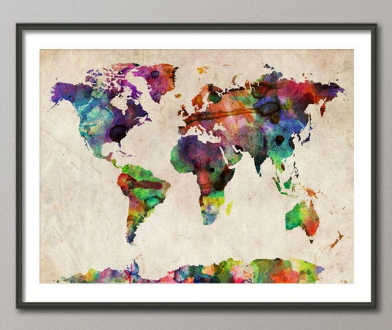 Watercolor Map of the World Map, Art Print, 11x14 up to 18x24 inch (749)
