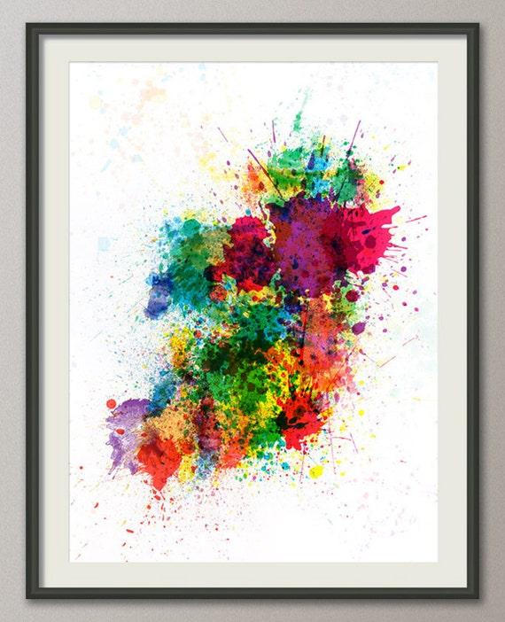 Ireland Map Paint Splashes, Art Print (514)