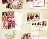 INSTANT DOWNLOAD - 5 Valentine Cards Photoshop Templates - Love Dreams Set - E292