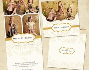 INSTANT DOWNLOAD - Psd Holiday Folded Luxe Card Template - Gold Magic 5x5 - E157