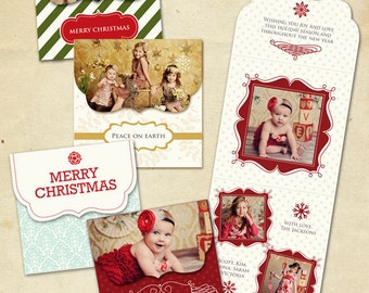 INSTANT DOWNLOAD - Psd Holiday Folded Luxe Card Set - Spread Love - E162