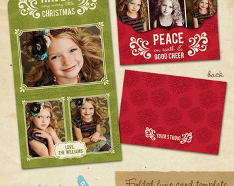 INSTANT DOWNLOAD - Holiday Folded Luxe Card Template - Cheer - E171