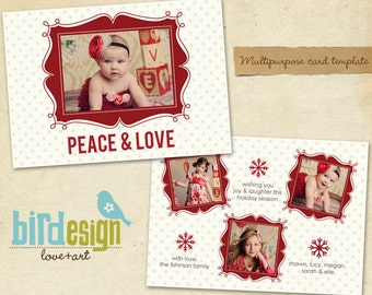 PSD Holiday Card Template - Peace&Love - E167 Landscape - Instant download
