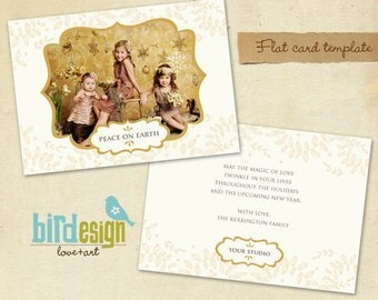 INSTANT DOWNLOAD -  Holiday Card Photoshop Template - Peace Landscape- E239