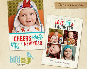 INSTANT DOWNLOAD - Holiday Card Photoshop Template - New Cheers- E248