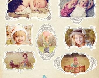 INSTANT DOWNLOAD - Photoshop Digital picture frames - Chic frames -E250