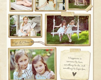 Blog Board & 16x20 Collage Template - Vintage Memories - E252