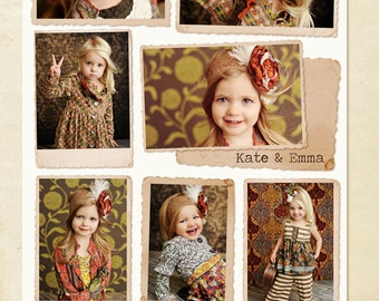 Blog Board & 16x20 Collage Template - Kate and Emma - E257