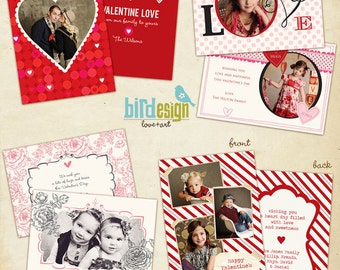 INSTANT DOWNLOAD  - 4 Valentine Cards Templates - Be mine Set - E280