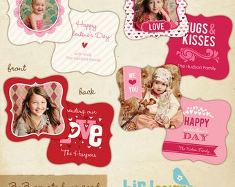 INSTANT DOWNLOAD - 3x3 Ornate Valentine Cards Templates - Cute Love Set- E298