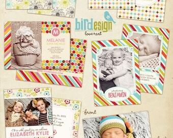 INSTANT DOWNLOAD - Birth announcement cards templates - Bright Hello - E309