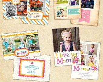 INSTANT DOWNLOAD - Mother's Day Cards - Photoshop Templates - E408