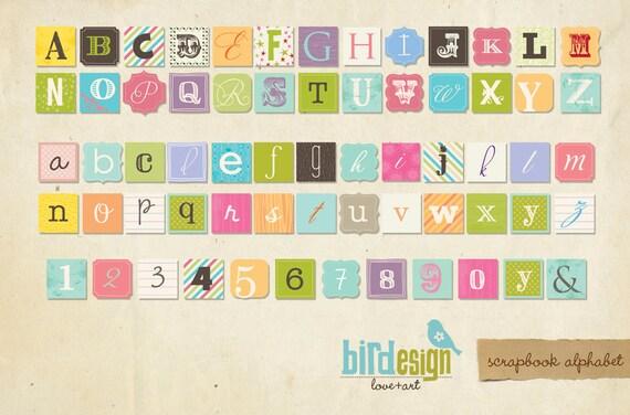 INSTANT DOWNLOAD - Alphabet Scrapbook Style - E107