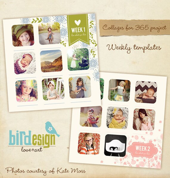 INSTANT DOWNLOAD  - 12x12 Album template for 365 project - Collages & Blog Boards - Good things - E291