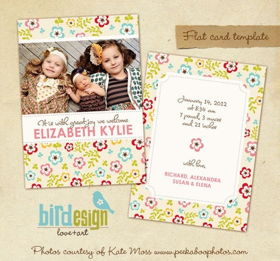 Birth announcement template - Sisters and Joy - E312