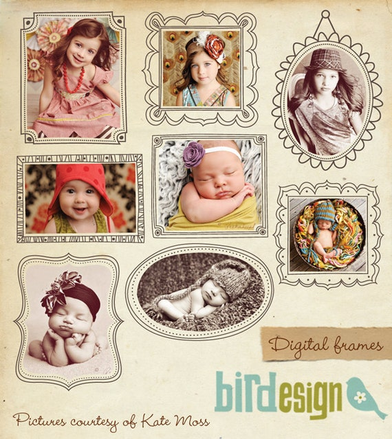 INSTANT DOWNLOAD - Digital frames set - Whimsical frames- E331
