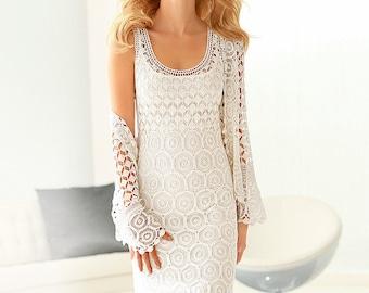 Dress with bolero . Handmade crochet dress .Wedding elegant crochet women dress and bolero