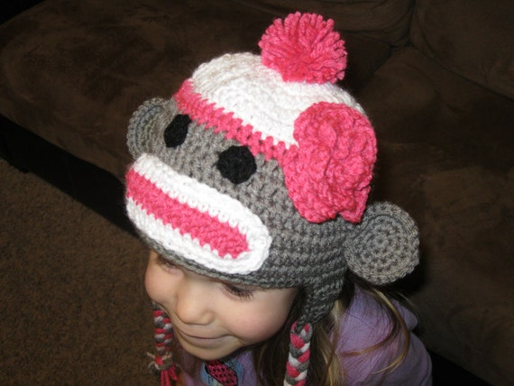 Sock Monkey Hat, Gray with Pink accent and flower