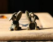 1 Bunny Rabbit Head Charm Antique Bronze 15 x 10 m U.S Seller - sc207