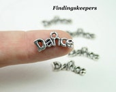 12 Dance Word Charms Antique Silver 20 x 9 mm Ships From The United States -  ts081