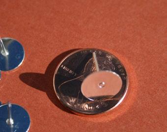 10  Earring Post Blanks 10 mm Glue on Pad Earring  blank Posts ew046