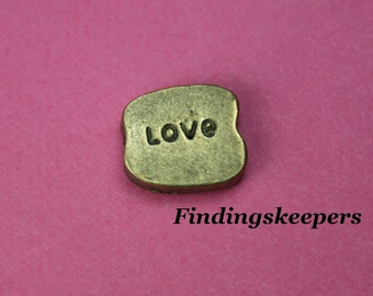 6 - 10 x 8 mm, Word Love Charms, Antique Bronze Floating Charm, Beads bz 040-4