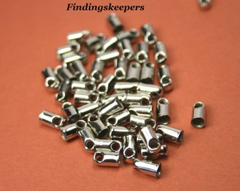 20 -  3 x 7 mm Antique Silver Glue in End Bead Caps bc063