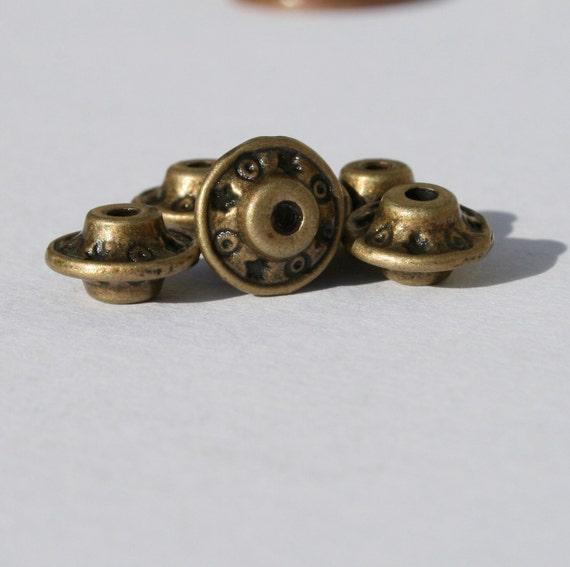 15 - 9mm Bronze Metal Rondelle Beads 9b001-2