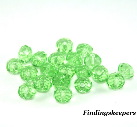 6mm Light Green Faceted Glass Rondelle Beads Ships From The United States - 6b20