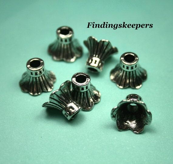 6 - 9 x 8 mm Antique Silver Flower Bead caps bc028-2