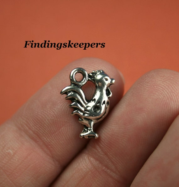10 - 14.5x11mm Antique  silver Rooster Charms ts059-1