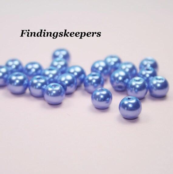 36 - 6 mm Light Blue Glass Pearls 6b008-1