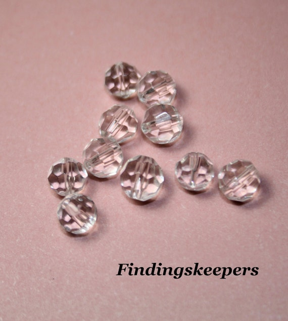 30 - 6 mm Clear  Glass Round faceted beads 6b024-1