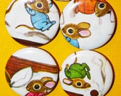 Vintage Upcycled Mouse & Bunny Pillow Fight Magnet Set (7)