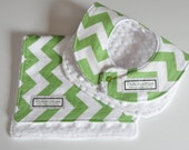Baby Bib and Burp Cloth, Chevron green