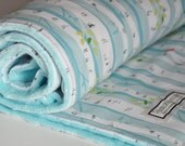 Gender Neutral Baby Blanket-Aqua Birch Trees Baby Blanket, Minky backed Blanket